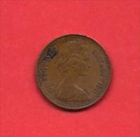 UK, 1971 Circulated Coin, 1/2 Pence, QEII, Bronze, KM 914 C1752 - 1971-… : Decimal Coins