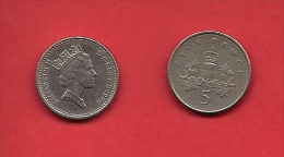 UK, 1987-1988, Circulated Coin, 5 New Pence  Small, QEII, KM937b,  1757 - 1971-… : Decimal Coins