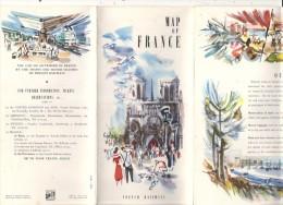 Dépliant Publicitaire SNCF En Langue Anglaise Grande Carte De France, Superbes Illustrations  - TTB (scan Nul) - Pubblicitari