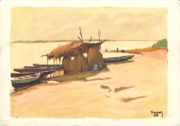 Afrique TCHAD (Ndjamena) FORT LAMY Les bords du Chari d�apr�s peinture HERVIGO illustrateur illustration (U.A.T )