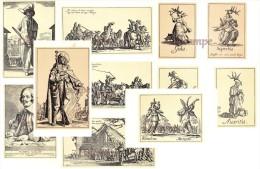 Lot De 17 Cartes Cpa : Illustration De Jacques Callot / Gravure Théâtre Mendiant Gueux Bohémiens Scapin Les Balli Etc.. - Altre Illustrazioni