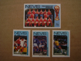 NEVIS 1986 WORLD CUP MEXICO - FOUR DIFFERENT  TEAMS In MNH (4). - St.Kitts And Nevis ( 1983-...)