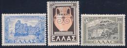 Greece, Scott # 506-7,509 Mint Hinged Various Subjects, 1947 - Unused Stamps