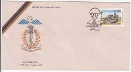 FDC On 60 Para Field Ambulance, Health, Medicine, Parachute, Red Cross Van, Army, Defence,  India 1992 - Medizin