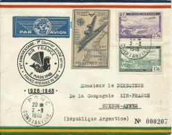 1er AIR FRANCE BONE-PARIS .1928-48+vignette De L'Anniversaire +CP En 1928 - Poste Aérienne