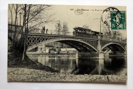 """Cpa  De St MAUR  """"tramway Et Personnages Sur Le Pont Creteil 1909 """"coll Schnabel - Tramways"""