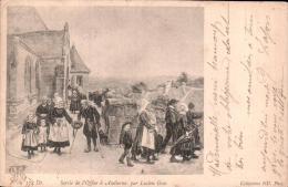 SORTIE DE L'OFFICE A AUDIERNE PAR LUCIEN GROS  CARTE PRECURSEUR CIRCULEE 1904 - Peintures & Tableaux