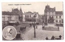 CPA Cognac Charente 16 Place François 1er Belle Animation Calèches Chevaux édit Ch Colas écrite 1918 - Cognac