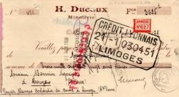 87 - COUZEIX - TRAITE H. DUCOUX MINOTIER- MINOTERIE BOURGANEUF - A M. NONNIN NEGOCIANT A COUZEIX-1926 - 1900 – 1949
