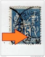 YT 101 - Sage 15c Bleu - Variété Anneau-lune (Beau) - CAD Paris - 1876-1898 Sage (Type II)