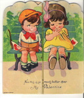 """Antique Valentine Cards My Valentine  5.3"""" Or 13 Cm High  Folds Open To 9"""" Or 22.5 Cm - Seasons & Holidays"""