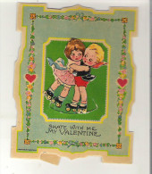 """Antique Valentine Card Skate With Me My Valentine  The Skaters Will Move 3.6"""" X 4.5""""  9.2 Cm X 11.5 Cm - Seasons & Holidays"""