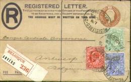 Registerd Post Stat + Add.franking From Bradford To Belgium 1905 - Registrationlabel ANVERS ! - 1902-1951 (Kings)