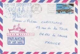 LETTRE OBLITEREE CACHET JEAN-CHARCOT AVEC TIMBRE U.S ET CAD AIR FORCE POSTAL SERVICE 29 NOV 1986 - Amérique Centrale