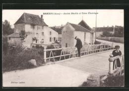 CPA Breny, Ancien Moulin Et Usine Électrique, Un Vieil Homme Et Un Garçon - France