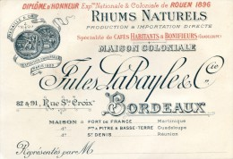 Carte De Visite - Maison Coloniale Jules Labayle - Bordeaux  - Rhums Naturels (scans R V ) - Alcohols