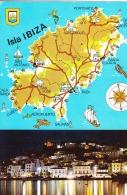 España--Ibiza--Mapa De La Isla--Vista Nocturna--a Herselt, Belgica - Mapas