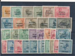 RUANDA URUNDI 1924 ISSUE COB 50/76 + 79/80 + 90/91  LH