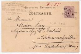 """ALSACE - 1885 - CP De THANN (HAUT RHIN) Avec CACHET AMBULANT """"WESSERLING - MULHAUSEN"""" Pour NIEDERMORSCHWILLER (I.14) - Marcofilia (sobres)"""