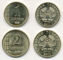 TAJIKISTAN   1 + 2 Diram  2.011  (2.013)  SC/UNC    T-DL-10.719 - Takiyistán