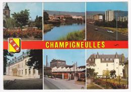 Champigneulles - Multivue 6 Vues Et Blason (Eglise, Port, Autoroute, Mairie, Usine Coca-Cola, Château) Circulé 1975 - France