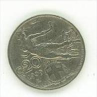 20 CENTESIMI ITALIA LIBRATA DEL 1921 NICHELIO C0ME DA DETTAGGLIO - 1861-1946 : Royaume