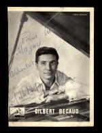 AUTOGRAPHES -  GILBERT BECAUD - Théâtre PACRA à Paris - Dédicace - STUDIO HARCOURT - Autographes