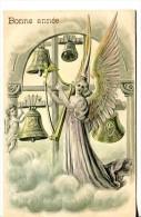 Bonne Année - Carte Gaufrée - Ange Jouant De La Harpe  Et Ange Sonnant Les Cloches - Nouvel An