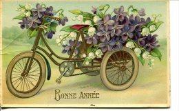 Bonne Année - Tricycle Garni De Vilettes Et Muguet - Nouvel An