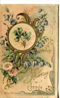 Bonne Année - Carte Gaufrée - Composition Fleurie Art Déco - Nouvel An