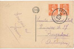 """1934 Zichtkaart """"Saint-Hubert-L'Eglise Abbatiale"""" PZ336(paar) Van Poix Naar Borgerhout Zie Scan(s) - 1932 Cérès Et Mercure"""