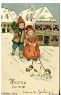 Bonne Année - Deux Enfants Tenant Deux Petits Chiots - Nouvel An