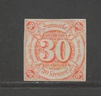 GERMANY -THURN &TAXIS 1859 Unused  (no Glue) Stamp 30 Kreuzer Orange Nr. 25 - Thurn And Taxis