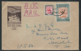 Sudan, Scott #41 And #97, On British India Line Cover Sent To Hawaii, Very Fine. - Sudan (...-1951)
