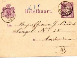 P 12  -  GELAUFEN  IN AMSTERDAM  1880 - Postwaardestukken
