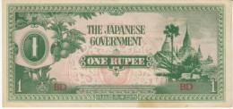 Burma #14, 1 Rupee 1942 Japanese Occupation Banknote - Myanmar