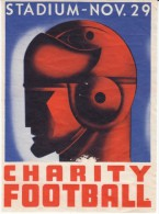 Charity Football Event Art Deco Design Man's Head With Helmet C1930s Vintage Label - Apparel, Souvenirs & Other