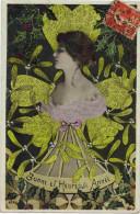 """FANTAISIE FEMMES FRAU LADY : """"  Bonne Et Heureuse Année """"  Photomontage Art Déco Femme Fleur  Houx Gui  Robe Ed D'Art - Women"""