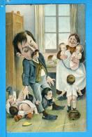 CP, Caricature De Couple Débordé Par De Nombreux Enfants, Voyagé En 1906 - Humour
