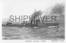 Torpilleur MAGON (Marine Nationale) - Carte Photo éd. Marius Bar - Photo/bateau/schiff - Guerra