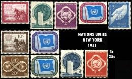1 à 11 NATIONS UNIES NEW YORK   1951  DIVERS - New York - Sede De La Organización De Las NU