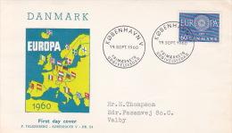Denmark 1960 Europa Addressed FDC - Europa-CEPT