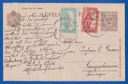 Ungarn; PC Levelezö Lap 20 Korona; 1926 Mit Zusatzfrankatur Nach Sangerhausen - Ganzsachen