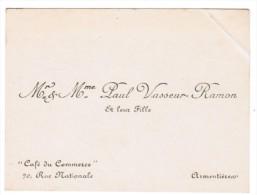Mr & Mme PAUL VASSEUR-RAMON ET LEUR FILLE CAFE DU COMMERCE 70 RUE NATIONALE ARMENTIERES - Cartes De Visite