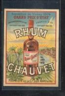 Beau CHROMO Publicitaire : RHUM CHAUVET à CAEN - Cromos
