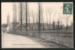 CPA St-Mars-la-Brière, Vue Prise De La Gare, L'église Au Fond, Un Homme - France