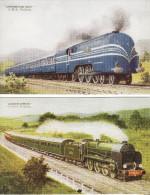 Railway Postcard LMS 6220 Coronation Scot + SR Lord Nelson 858 Golden Arrow Loco - Trains