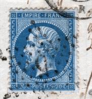 Y & T N°22 SUR LETTRE - VARIETE FILET INFERIEUR ECRASE - 1862 Napoléon III