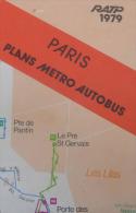 ANCIEN PLANS PARIS METRO AUTOBUS BANLIEUE RATP 1979 - Vieux Papiers