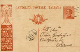 1924 INTERO POSTALE CENT. 30 PISA - PALERMO PROPAGANDA DI MUSSOLINI - 1900-44 Victor Emmanuel III